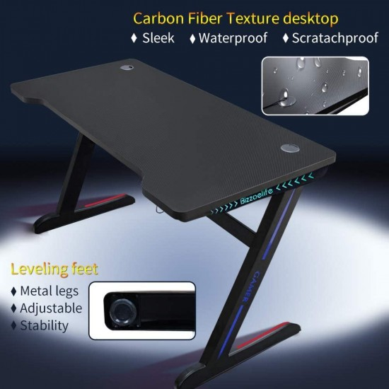 Bizzoelife Ergonomic Gaming Desk, 47Inch Z Shaped Home Office PC Computer Table, Gamer Workstation with RGB LED Lights, Racing Style Game Tables with Headphone Hook & 2 Cable Management Holes
