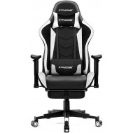 GTRACING Gaming Chair with Footrest, Massage, Bluetooth Speakers Ergonomic High Back Music Video Game Chair Heavy Duty Computer Office Desk Chair White
