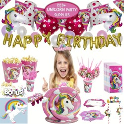 223 Pcs Unicorn Party Supplies & Party Tableware set, Birthday party decorations, Party Favors, Birthday Shower, for Girls or first Birthday| Birthday Foil Balloons,Banner,Plates,Cups,Spoons,Napkins