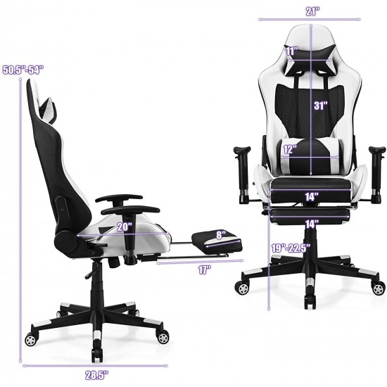POWERSTONE Massage Gaming Chair with Footrest - Office Computer Game Racing E-Sports Chair Ergonomic Lumbar Massage Pillow Footrest Headrest High-Back Leather Recliner Rolling Swivel Chair, White