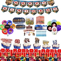 120PCS Roblox Party Supplies Birthday Decorations Video Game Theme Roblox Birthday Party Supplies Party Decoration with Happy Birthday Banner Balloons Napkins, Cake Toppers, Forks, Table Cover, Plates
