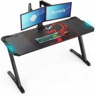 EUREKA ERGONOMIC Z60 Gaming Desk 60'' Z Shaped Large PC Computer Gaming Desks Tables with RGB LED Lights and Mouse Pad for E-Sport Racing Gamer Pro Home Office Gift
