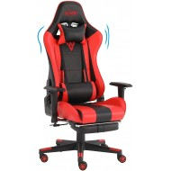SMAX Gaming Chair Racing Office Computer Ergonomic Video Game Chairs PU Leather Desk Recliner Chair Headrest and Massager Lumbar Support with Footrest Adjustable Rolling Swivel Chair (Black+Red)