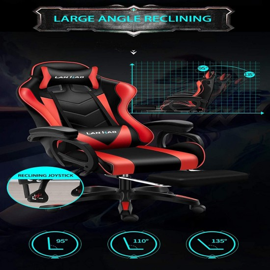 ZJYX Video Gaming Chair Racing Office/PU Leather High Back Ergonomic Adjustable Swivel Executive Computer Desk Task for Adults Large Size with Footrest,Headrest and Lumbar Support,Pink