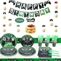 125PCS Video Game Party Supplies, Video Game Party Decoration Includes Game Plates, Cups, Napkins, Banners, Tablecloths and Cake Inserts, Suitable for Boys and Girls Birthday Party Decorations