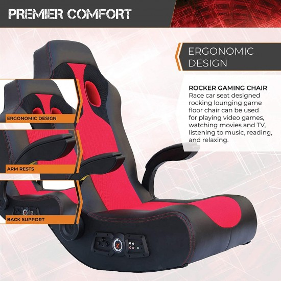 X Rocker, 5172801, Vibe 2.1 Wireless Bluetooth Highback Video Game Chair, Vibrating, Foldable, Breathable Mesh, 2 Speakers, 4