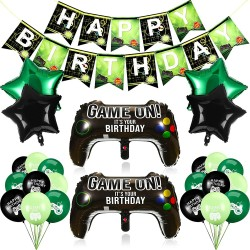 25 Pieces Video Game Party Supplies Include Game Controller Balloons and Happy Birthday Gaming Banner Game on Balloons Star Aluminum Foil Balloons for Birthday and Game Party Decorations
