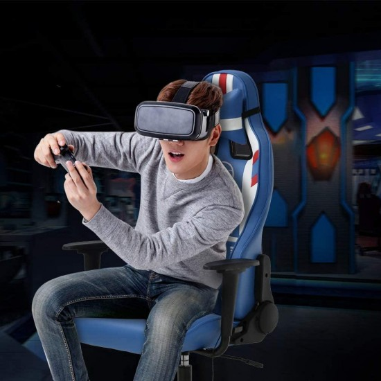 Gaming Chair Massage Office Chair Racing Computer Chair with Lumbar Support Headrest Armrest Task Rolling Swivel Ergonomic PU Leather High Back Adjustable Desk Chair for Adults Gamer(Blue)