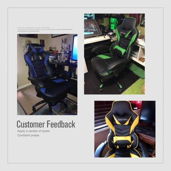 Video Gaming Chair Racing Office - PU Leather High Back Ergonomic Adjustable Swivel Executive Computer Desk Task for Adults Large Size with Footrest,Headrest and Lumbar Support (Black+Blue)