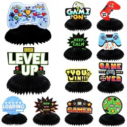 12 Pieces Video Game Party Decorations 3D Video Game Honeycomb Table Centerpieces Cutouts for Video Game Kids Birthday Baby Shower Party Supplies