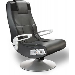 X Rocker, 5127401, SE 2.1 Black Leather Video Gaming Chair for Adult, Teen, and Kid Gamers with Pedestal Base, Armrest, and Headrest, 32 x 25 x 42, Black