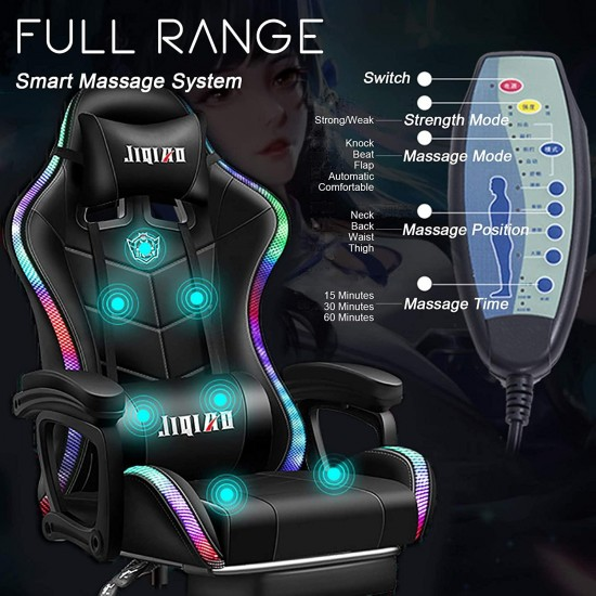 ERSHY Gaming Chair LED Lights Racing Computer Chair Ergonomic Office Massage Chair with Massager Lumbar Support and Retractible Footrest Adjustment of Backrest, Full Massage, Bluetooth Speaker,Black