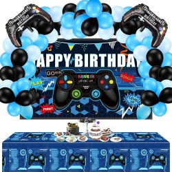 34 Pieces Video Game Party Supplies Happy Birthday Gaming Backdrop and Balloons Kit Including Video Game Backdrop, Game Table Covers, Controller Balloons for Game Themed Birthday Party Decoration