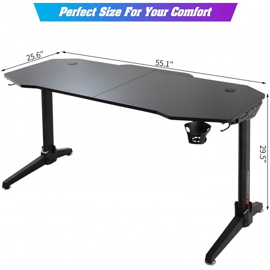 Corbrano 55 inch Ergonomic Large Computer Gaming Desk Full-Scale Mouse Pad Home Office Computer Table Desk with Led Lights Wireless Charge Gaming Handle Rack Cup Holder Headphone Hook