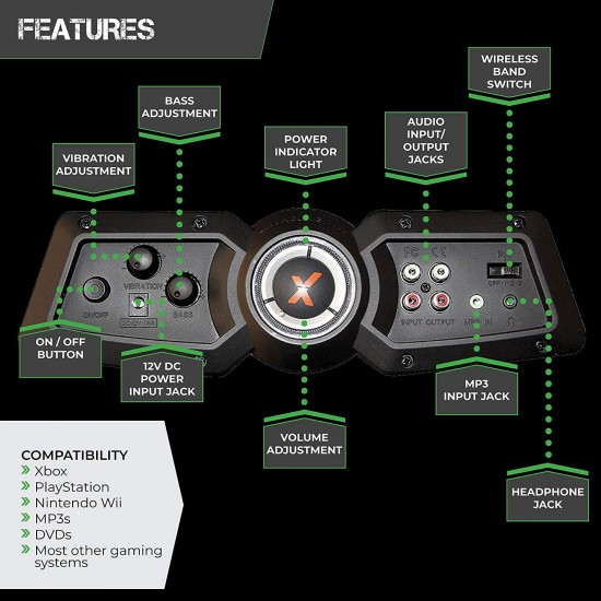 X Rocker Pro Series 2.1 Vibrating Black Leather Foldable Video Gaming Chair with Pedestal Base and Headrest for Adult, Teen, and Kid Gamers - High Tech Audio and Wireless Capacity - Ergonomic Back Support